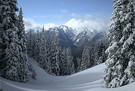 Olympic mountains in snow