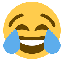 smiling cartoon face with tears of laughter coming out of both eyes